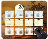 Yanteng Alfombrilla de ratón con Calendario 2021, Alfombrillas de ratón para Juegos rectangulares Personalizadas con Sol Naranja Dorado