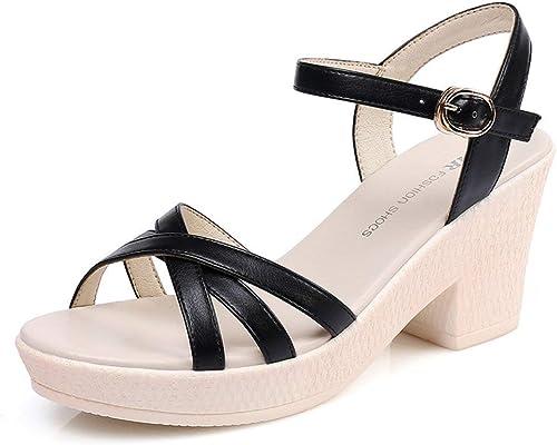 ZCW Chaussures polyvalentes décontractées , Talon Haut Une Boucle épaisse Sandales à Talons Femme, Chaussures Plates décontractées pour Femmes