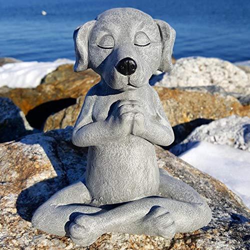 Meditating Buddha Dog Dog Statue, Yoga Dog Garden Decoration, Spring Home Decoration Indoor/Outdoor Garden Dog Buddha Sculpture for Patio, Yard or Lawn