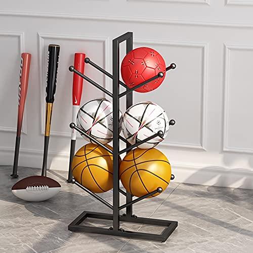 Estantería fútbol organizador de baloncesto Rack de almacenamiento de baloncesto de hierro robusto blanco/negro, almacenamiento de equipos deportivos para baloncesto/fútbol/voleibol puede almacenar 6
