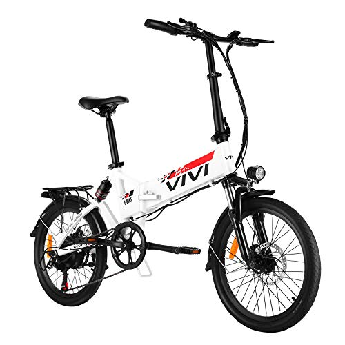 VIVI Folding Electric Bike, Electric Road Bike/City Bike 350W Electric Bicycle 20'' Ebikes for Adults with Removable 8Ah Battery, Shimano 7 Speed, Full Suspension