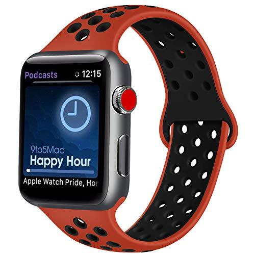 Correa compatible con correa de Apple Watch de 38 mm, 42 mm, 40 mm, 44 mm, transpirable, orificio de aire, silicona, accesorio deportivo para iWatch
