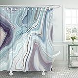 VaryHome Duschvorhang, blauer Granit-Marmor, weißes graues Muster, abstrakte braune Tinte, wasserdichtes Polyestergewebe, 152,4 x 182,9 cm, Set mit Haken