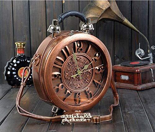 DDHZTA Retro Uhr Runde Box Handtasche Personalisierte Zeitmaschine Umhängetasche,Vintagebrown