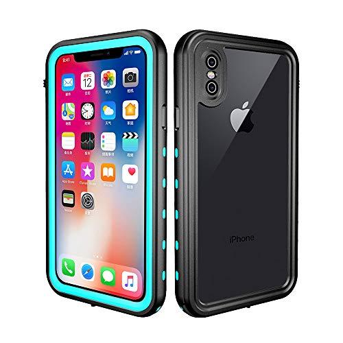 redpepper - Funda Sumergible Compatible con iPhone X/XS Carcasa Impermeable Protección Extrema 360º Certificado IP68 Resistente al Agua, Compatible con Carga Inalámbrica - Negro y Azul Turquesa