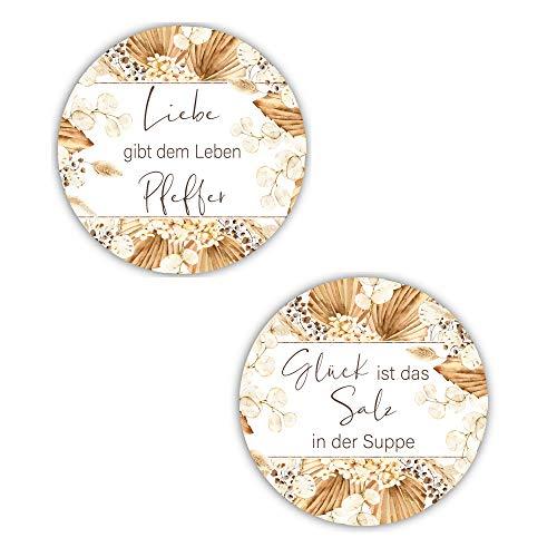 80 Sticker Aufkleber Salz & Pfeffer Liebe & Glück weiß & beige mit Pampas-Gras Zubehör Gastgeschenke Hochzeit Selbstgemachtes Tisch-Deko Gewürze