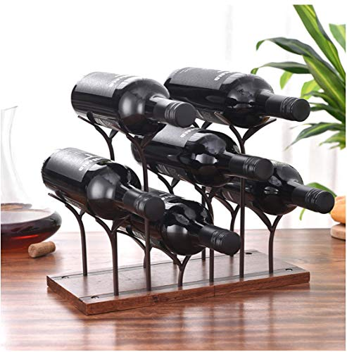 weenine Countertop Wine Rack 6 BottlesTabletop Wood Bottle Holder Perfect for Home Decor Kitchen Storage Rack Bar Cellar Bronze 6 Wine Bottles