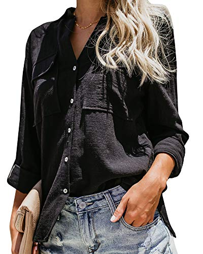 Womens Button Down V Neck T Shirts Collared Roll Up Long Sleeve Blouse Loose Fit Casual Work Plain Tops with Pockets Black