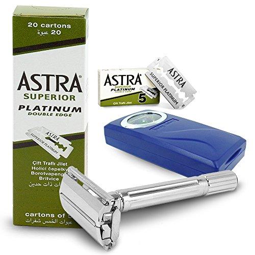 Traditional Shaving Kit Safety Razor plus 100 Astra Superior Platinum Double Edge Razor Blades