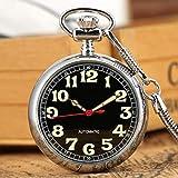 qwertyuio Reloj De Bolsillo con Cadena Números Luminosos Di