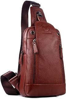 Men's Shoulder Bag, Popoti Sling Bag Backpack Leather Chest Bag Daypack Handbag Crossbody Messenger Bags Outdoor Hiking Travel Sports Bag 18cm (Brown)