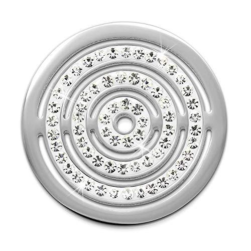 Amello Edelstahl Zirkonia Coins Silber 30 mm Einleger Kreise Damen Coin D2ESC534JW