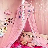 DFJU Cama Grande e romântica em cúpula Redonda Rede de Dossel Princess Mosquito Net Decoração de Cama para Meninas no Quarto Interno Bebê, Rosa, C