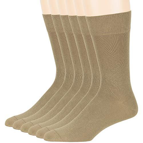 Men's Cotton Dress Socks - 6 Pack Large - Solid Casual Crew Lightweight Business Work Sock Size 10-13 Shoe 6-12 L Khaki