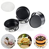 4.5-Inch Mini Springform Pans, OAMCEG 4-Piece Premium Nonstick Detachable Bakeware Cheesecake/Cake Pan + 50 Pcs 5'' Parchment Paper Liners for Mini Cheesecakes, Pizzas and Quiches