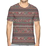 LLALUA Mens 3D Printed T Shirts,Hand Drawn Composition of Triangles Colorful Ethnic Latin American Folklore Motifs M