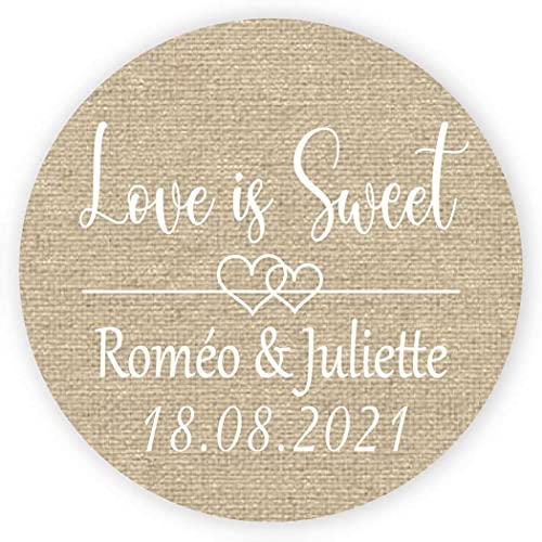 MameArt 50 PCS Pegatinas Personalizadas Boda Love is Sweet, Nombres y Fecha, 4cm Etiquetas Perfecto para Invitaciones Matrimonio Boda Fiesta (Lino)