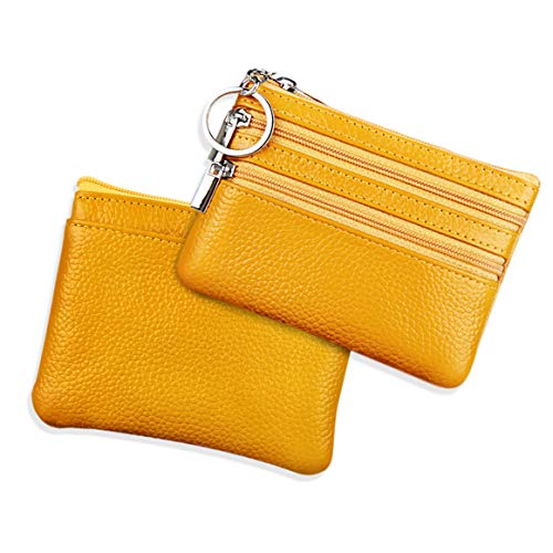 Mini Leder Münzbeutel Münzbörse für Herren und Damen Klein Geldbörse,Mini Portemonnaie Geldbeute Mädchen Kinder Herren Klein Coin Purse Wallet(Gelb)