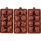 Silicone Moulds Non-Stick Chocolate Candy Mould,Soap Moulds, Silicone Baking Mould Making Kit, Set of 3 Forest Theme with Different Shapes Animals,Lovely & Fun for Kids