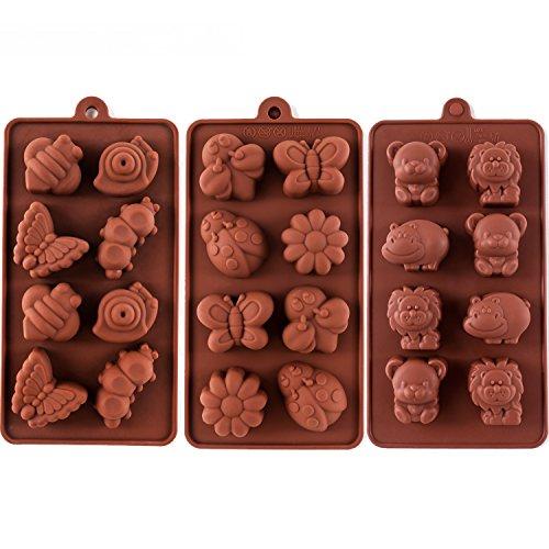 STARUBY Silikon Backform Shokoladeformen DIY Backen 3er/Set Formen 24 Köstlichkeiten hitzebeständig für Kuchen, Schokolade, EIS, Törtchen, Muffins,usw. Braun