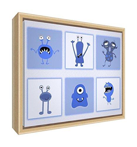 Feel Good Art eco-printed et Nursery toile encadrée avec cadre en bois massif naturel (34 x 24 x 3 cm, petit, bleu, monstres)