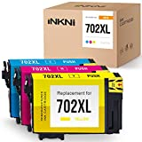 INKNI Remanufactured Ink Cartridge Replacement for Epson 702 702 XL 702XL High Yield for Workforce Pro WF-3720 WF-3730 WF-3733 Printer (Cyan, Magenta, Yellow, 3-Pack)