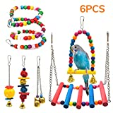 SSRIVER Bird Toys Bird Swing Parrot Bed Ladder Budgie Hammock Macaws Bite Parakeets Bell Lovebirds Rattan Conures Perch Finches Toys Pendant 6 Pcs budgie Apr, 2021