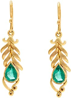 Gehna Yellow Gold and Emerald Drop Earrings for Women (GHCSER-745)