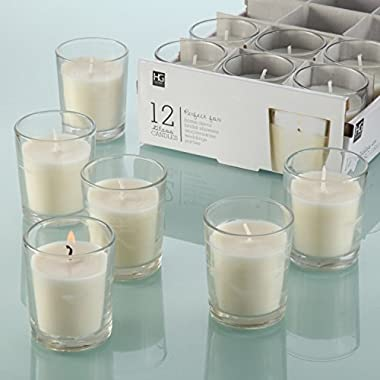 Hosley's Set of 24 Unscented Clear Glass Wax Filled Votive Candles, Up to 12 Hour Burn Time. Glass Votive & Hand Poured Candle Included, Ideal for Aromatherapy, Weddings, Party Favors O1