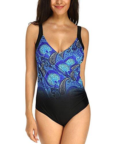 KISSLACE Badeanzug Damen Große Größe Tiefem V-Ausschnitt Badeanzüge Sexy Bademode Figurformend mit Körbchen Schwarz+Blau 867075 2XL=EU46