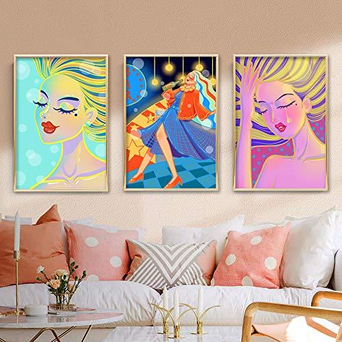 Geiqianjiumai Abstrakte Mode weibliches Mädchen Leinwand Malerei Bunte Malerei Wandplakat Bild Moderne Wohnzimmer Hauptdekoration rahmenlose Malerei 60x80cm