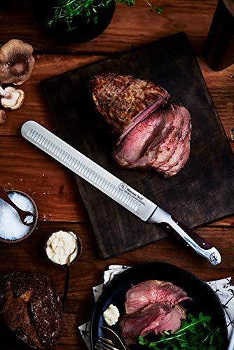 Hammer Stahl 10-Inch Carving Knife, X50CrMoV15 Forged German High Carbon Steel Meat Knife with Quad-Tang Pakkawood Handle - Perfect Brisket Slicing Knife