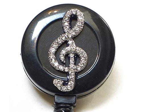 Bling Rhinestone Retractable Badge Reel/ID Badge Holder/Brooch/Pendant/Reels (Music Note Musical Symbol G Clef)