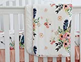 Sahaler Boho Floral Baby Minky Blanket Baby Crib Comforter Toddle Quilt 34x42inch (Feather Floral)