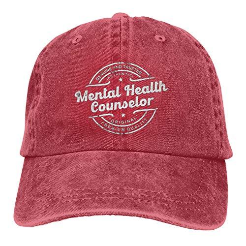 Garitin Mejor consejero de salud mental genuino y confiable unisex gorra de béisbol ajustable al aire libre malla gorra camionero sombreros, rosso, Talla única