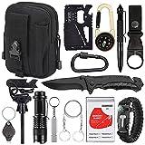 Emergency Survival Kit 15 in 1, Outdoor Survival Gear Tool with Survival Bracelet, Fire Starter, Whistle, Wood, Water Bottle Clip, Pen