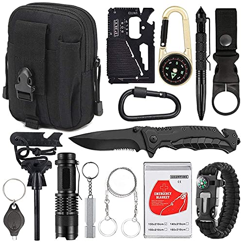 Kit de supervivencia de emergencia 15 en 1, herramienta de equipo de supervivencia al aire libre con pulsera de supervivencia, iniciador de fuego, silbato, madera, clip para botella de agua, bolígraf