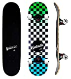 GALACTIC Skateboard Double Kick Trick, Planche à Roulettes Complète, avec Trucks en Alliage d'Aluminium et Roues de 52mm/95A, avec Roulements ABEC-9, pour Enfants Jeunes Adultes Débutants et Confirmés