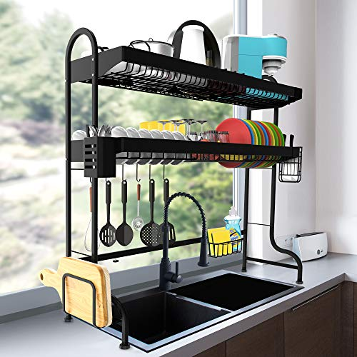 Over the Sink Dish Drying Rack, ULG Length Adjustable (24.4'-37') Stainless Steel Paint Kitchen Rack, Large Dish Rack Over the Sink Shelf for Kitchen Counter Organizers and storage