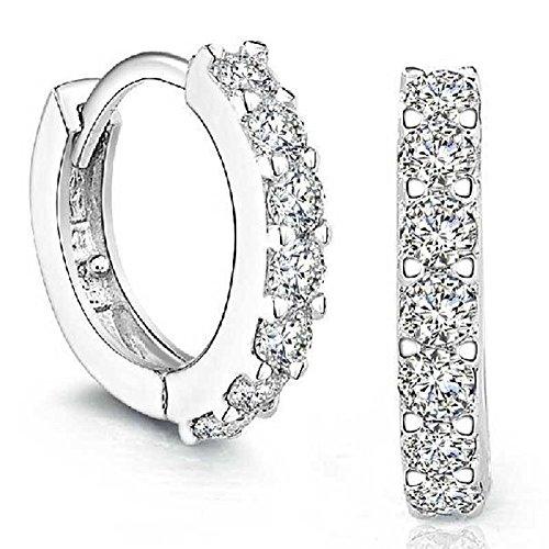 Tonsee® 925 Boucles d'oreilles en argent sterling strass Hoop diamant pour les femmes