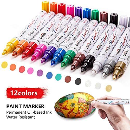 Aliyer Paint Marker Pens,Acrylstifte für Steine Bemalen,12 Pcs White Paint Pens Wasserfeste Stifte für Steine, Malen, Holz, Stoff, Kunststoff, Leinwand, Glas, Becher, Basteln. (Multi)