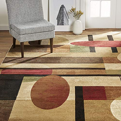 "Home Dynamix Tribeca Jasmine Modern Area Rug, Abstract Brown/Green 39""x55"""