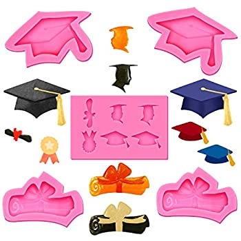5 Pieces Graduation Mold Graduation Kitchen Baking Mold Graduation Chocolate Candy Fondant Mold Graduation Party Supplies Mold includes Cap Paper and Medal Mold for Kitchen Baking