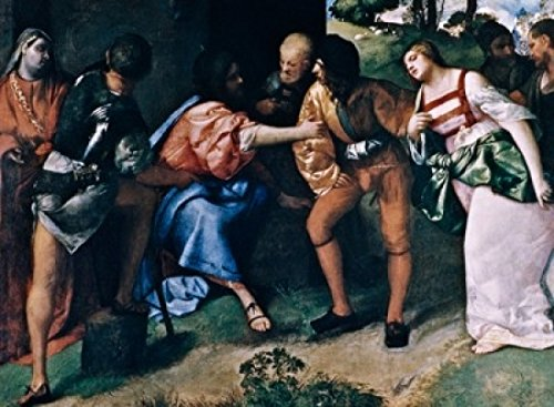 Posterazzi Adulteress Brought Before Christ Poster Print by Giorgione oil on canvas (c.1477-1510 UK Scotland Glasgow Kelvingrove Art Gallery & Museum, (24 x 36)