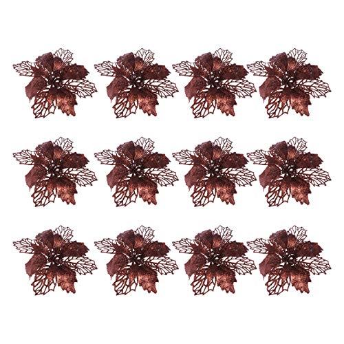 TOYANDONA 12pcs Glitter Stella di Natale Fiori Artificiali Albero di Natale Ornamenti Floreali Decorazioni Albero di Natale Ciondolo Corona di Natale riempitivo (caffè)