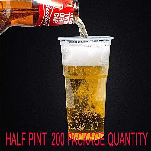 Wegwerp Plastic Bierbeker, Half Pint- Sterk Wegwerpbaar Kunststof materiaal om een Perfect Bierglas te maken voor feesten, evenementen en dagelijks gebruik, in halve en volle pint met multipack maten Pint
