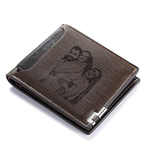 Carteras de Fotos Personalizadas Carteras de Tarjetas de crédito para Hombres Regalos Originales para Hombre Monedero de Bifold para Regalo de Novio de Padres (#2dark Brown)
