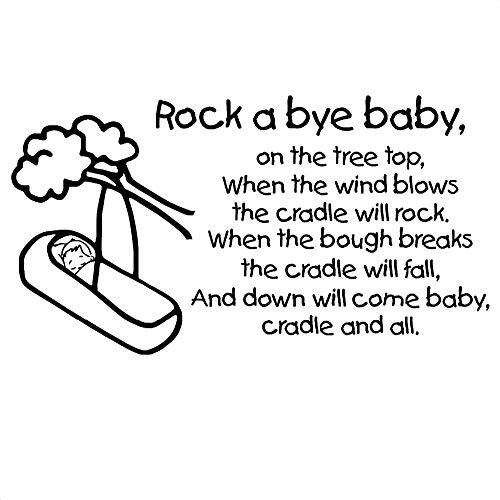 ONETOTOP Rock A Bye Baby Stickers Muraux Citation Comptines Comptines Enfants Chambre des Enfants Non Toxique PVC Texte Sticker Mural Amovible Art Decals77 * 42cm