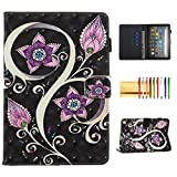 Case for Fire HD 8 2020/Fire HD 8 Plus Tablet 2020, Techcircle 3D Printed Smart Stand PU Leather Folio Magnetic Cover Thin Folding Protective Case with Pen/Card Holder, Sleep Mode, 3D Peacock Flowers