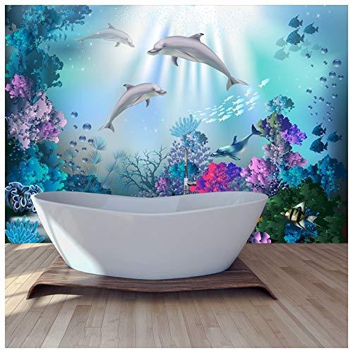 azutura Delphin Fototapete Unter dem Meer Tapete Mädchen Schlafzimmer Wohnkultur Erhältlich in 8 Größen Extraklein Digital